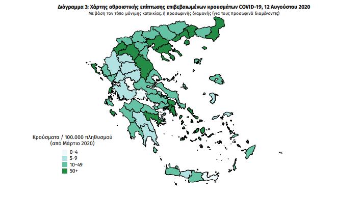 Η γεωγραφική κατανομή των σημερινών κρουσμάτων